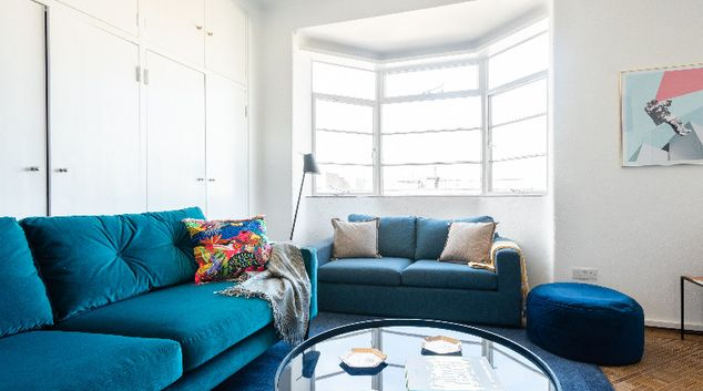Living room at The West End Penthouse, Fitzrovia, London