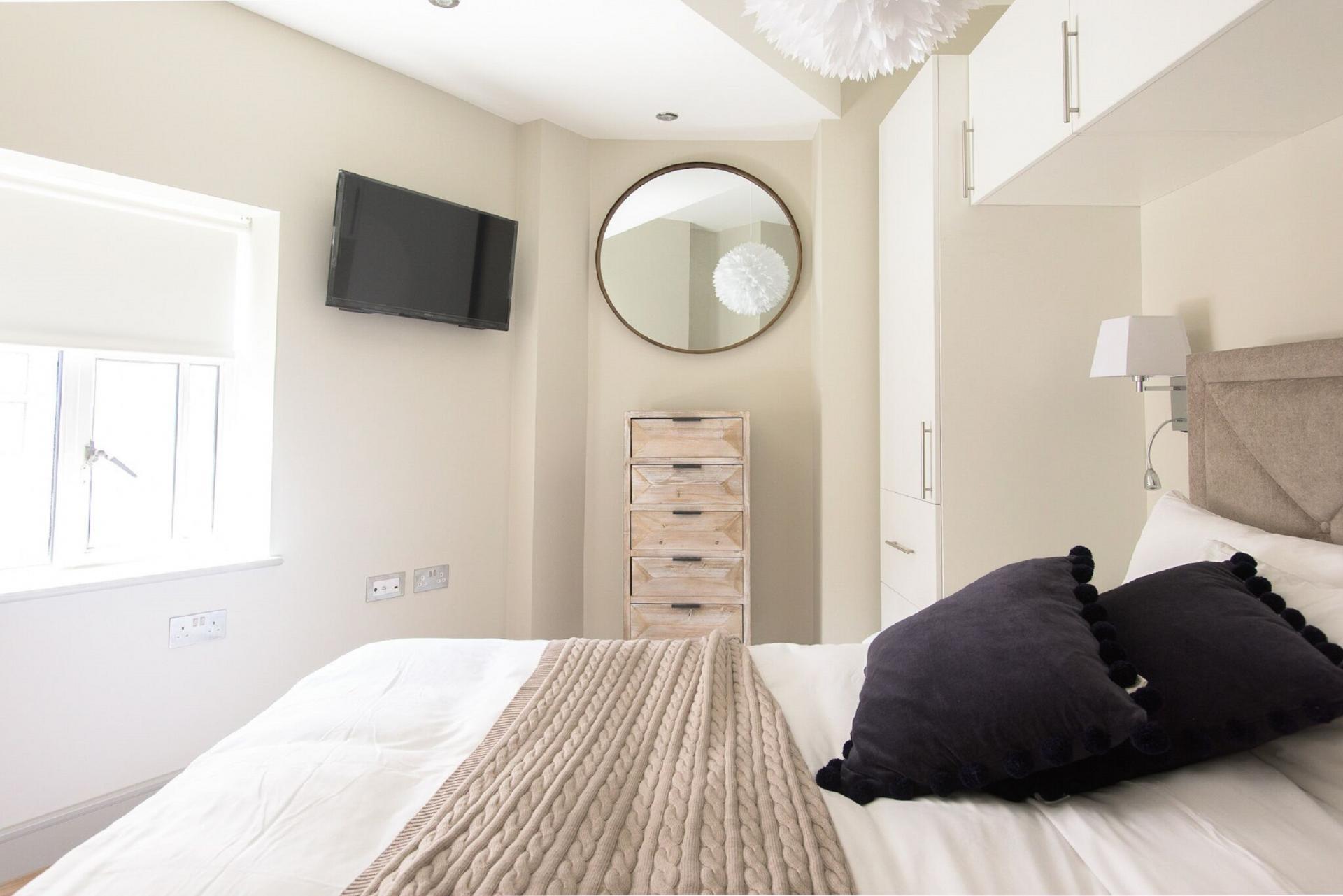 Bright bedroom at The Soho Loft, Mayfair, London