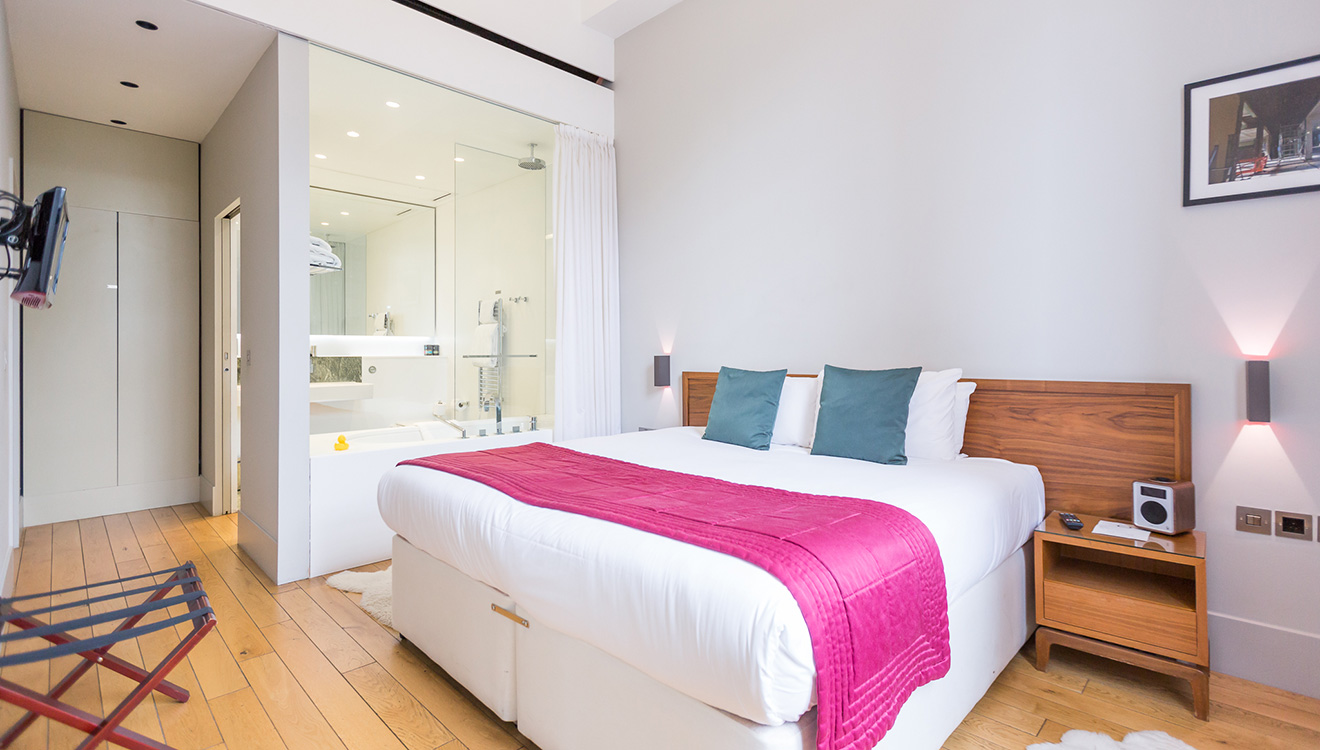 Bedroom at Town Hall Apartments