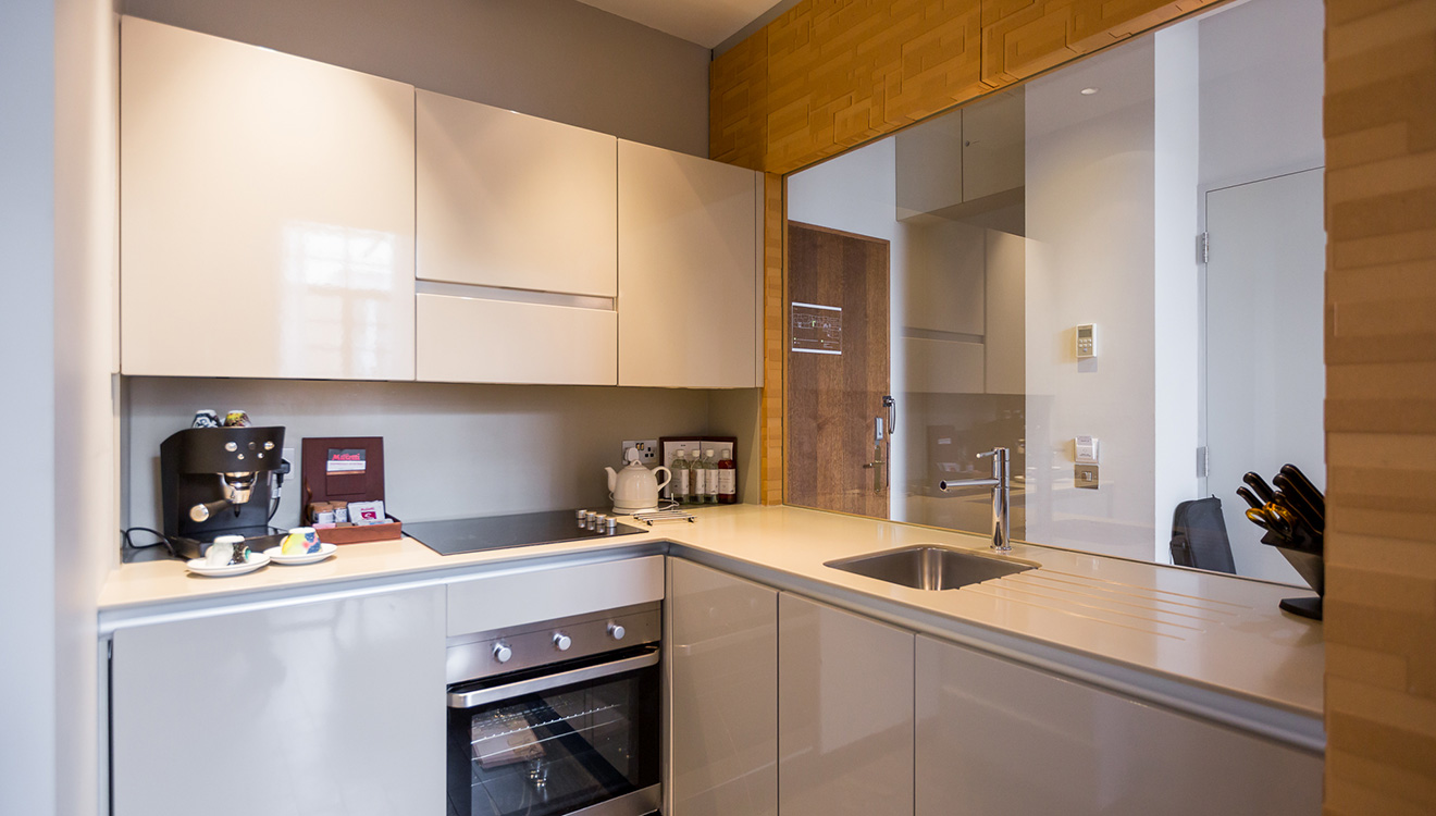 Modern kitchen at Town Hall Apartments