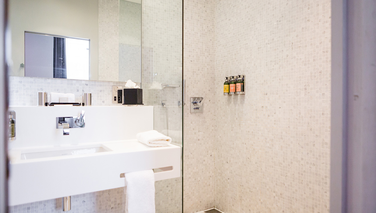 Bathroom at Town Hall Apartments
