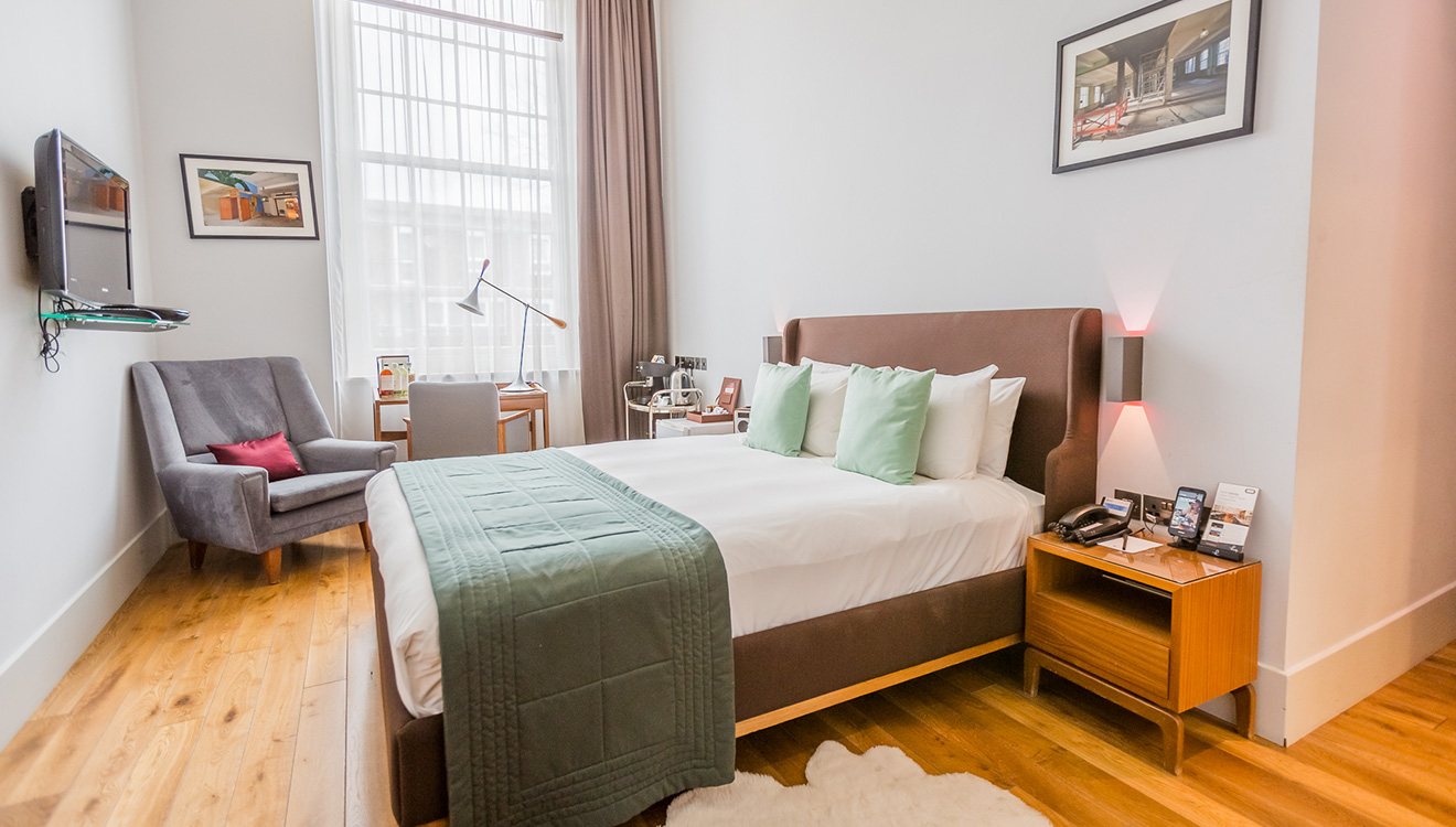Modern bedroom at Town Hall Apartments
