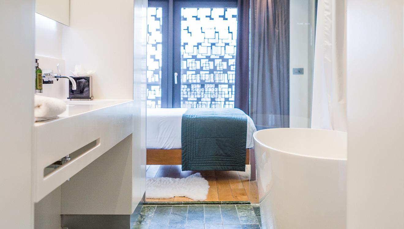 Modern bathroom at Town Hall Apartments