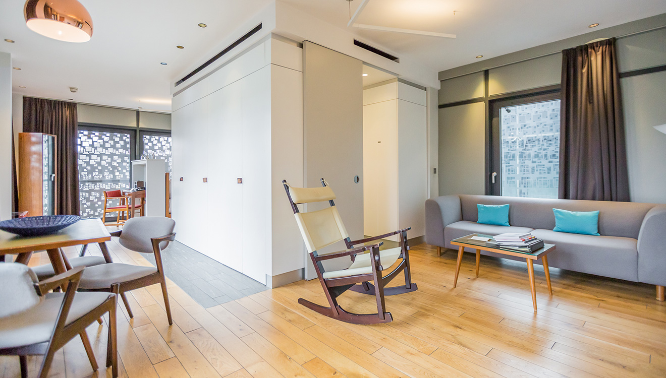 Spacious living area at Town Hall Apartments