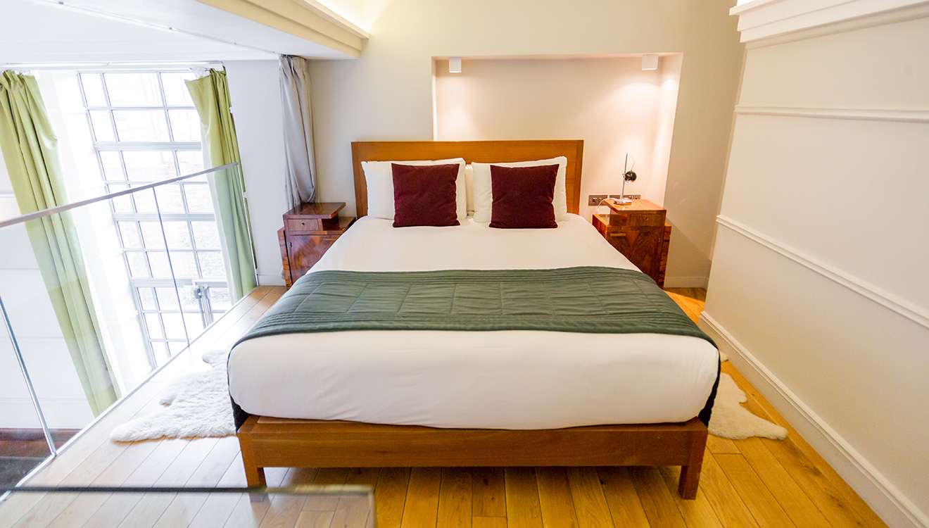 Double bed at Town Hall Apartments