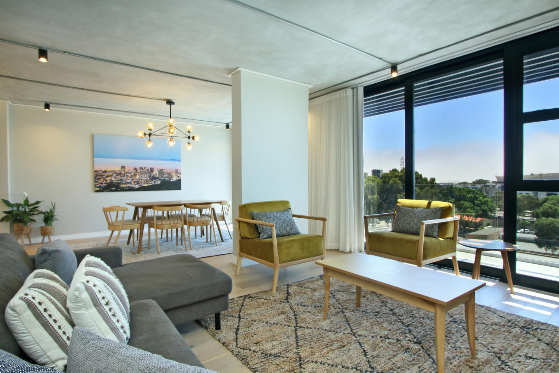 Bright living space at Docklands Cape Town Apartments, Green Point, Cape Town