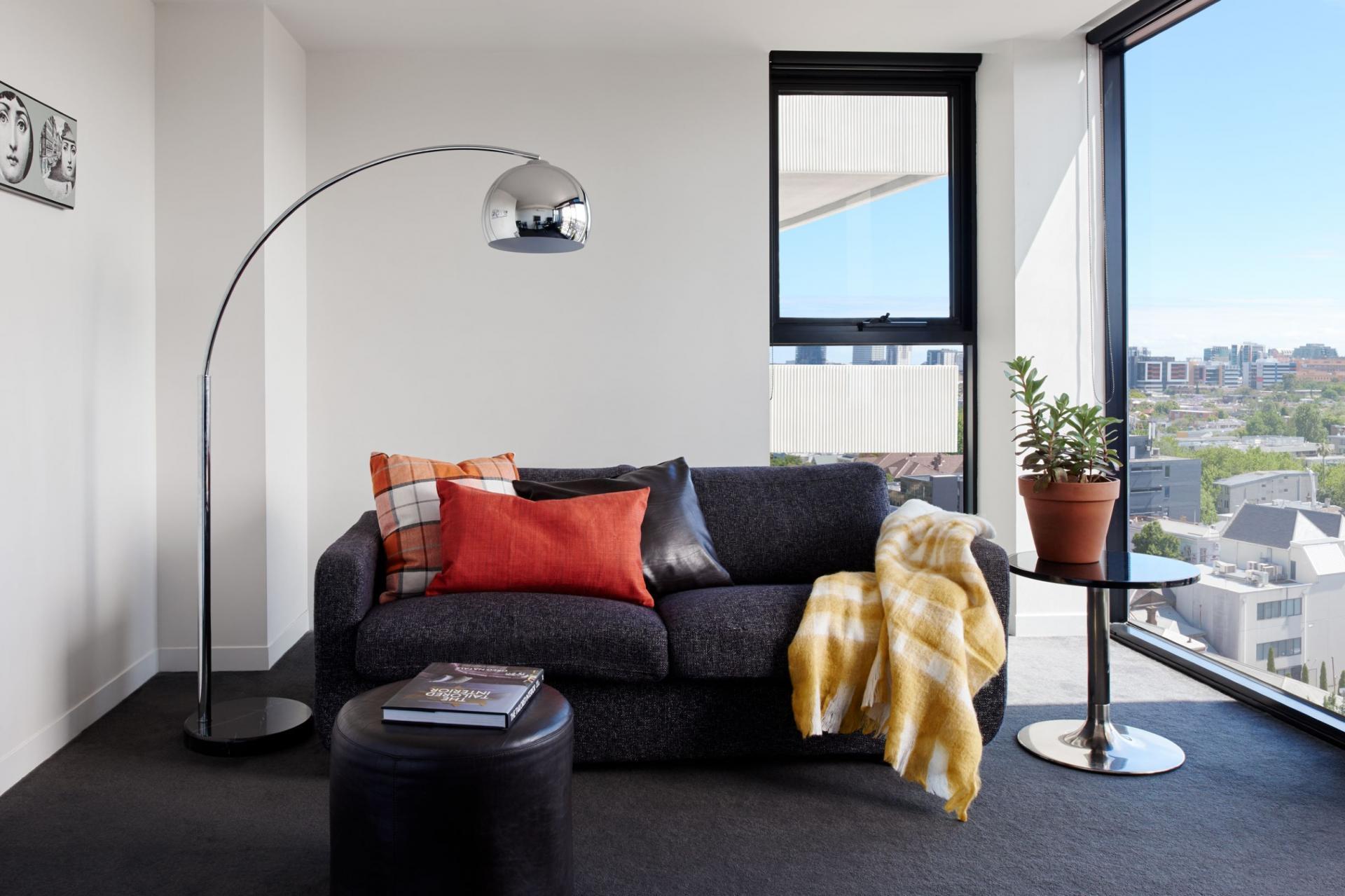 Living room at South Yarra Grand Apartments