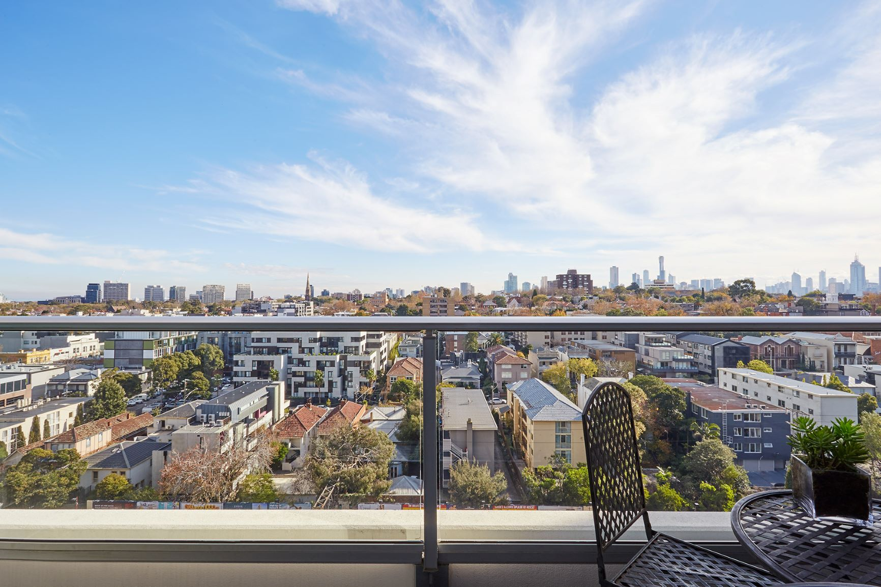 Private balcony at South Yarra Grand Apartments