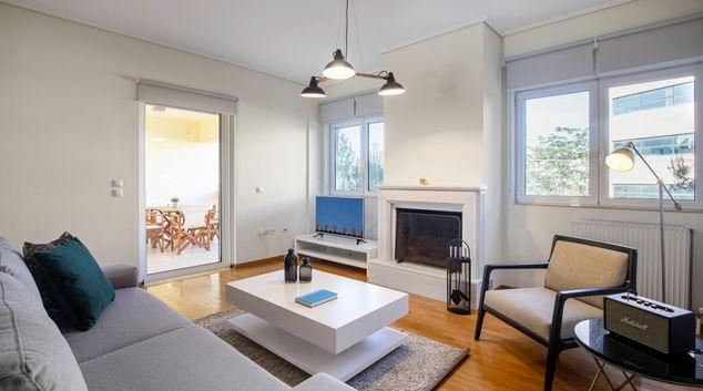 Living area at Patmou I Apartment