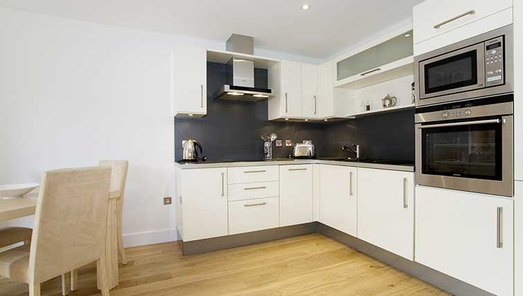 Open plan kitchen in The Hamiltons Apartments