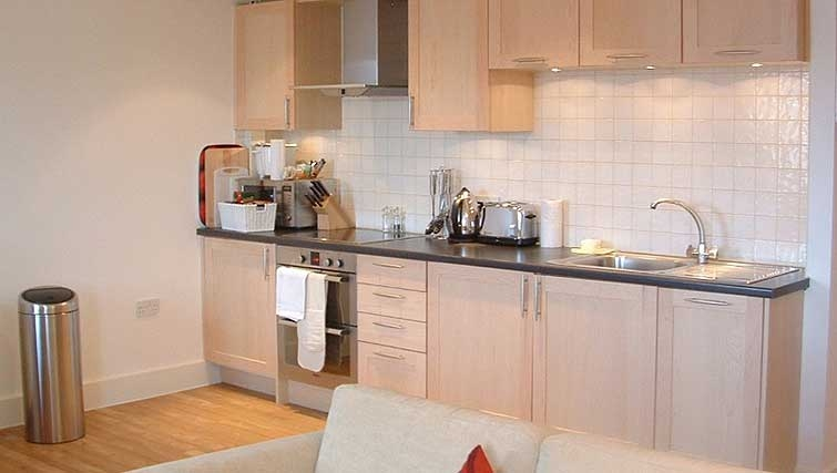 Open plan kitchen in Manor House Apartments