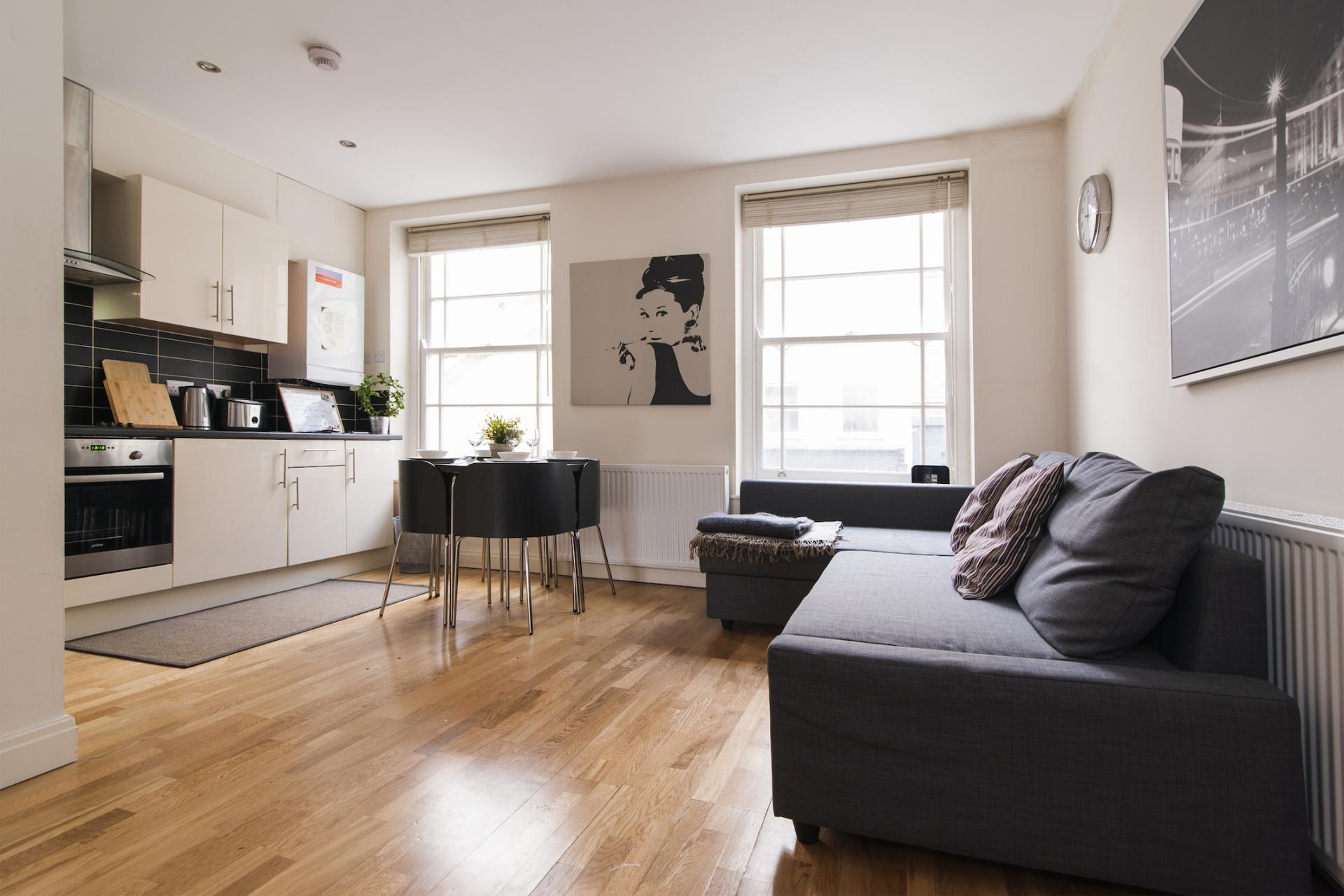 Open-plan living area at Angel Serviced Apartments