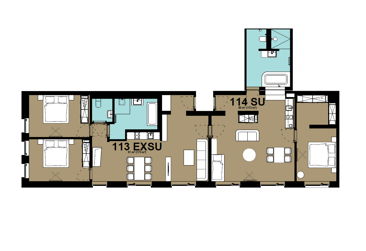 3 bedroom floor plan at Hammerschmidt Apartments