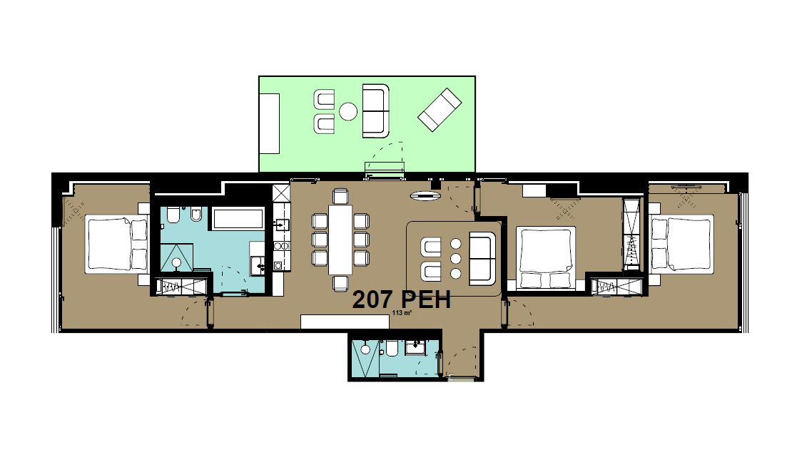 Large 3 bed floor plan at Hammerschmidt Apartments