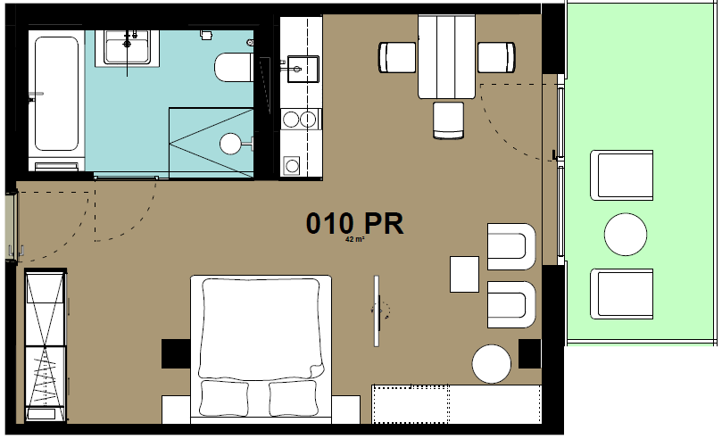 Studio floor plan at Hammerschmidt Apartments