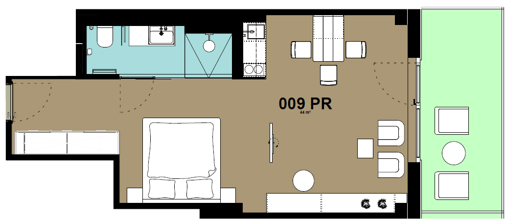 Studio apartment floor plan at Hammerschmidt Apartments