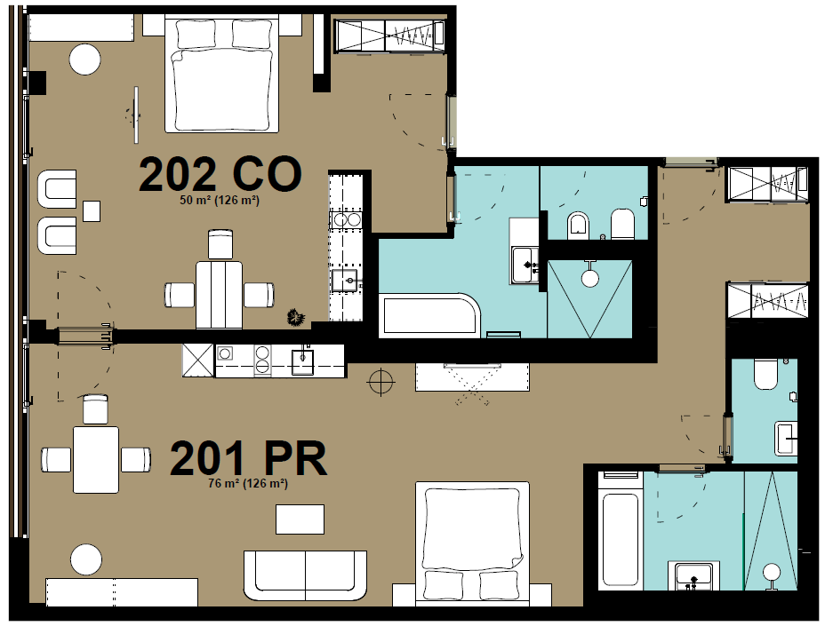 2 bedroom floor plan at Hammerschmidt Apartments