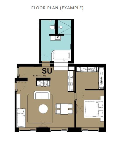 1 bed floor plan at Hammerschmidt Apartments