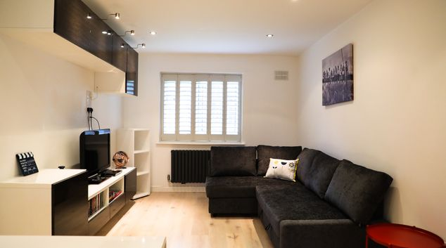 Living room at Clapham Junction Apartment, Battersea, London