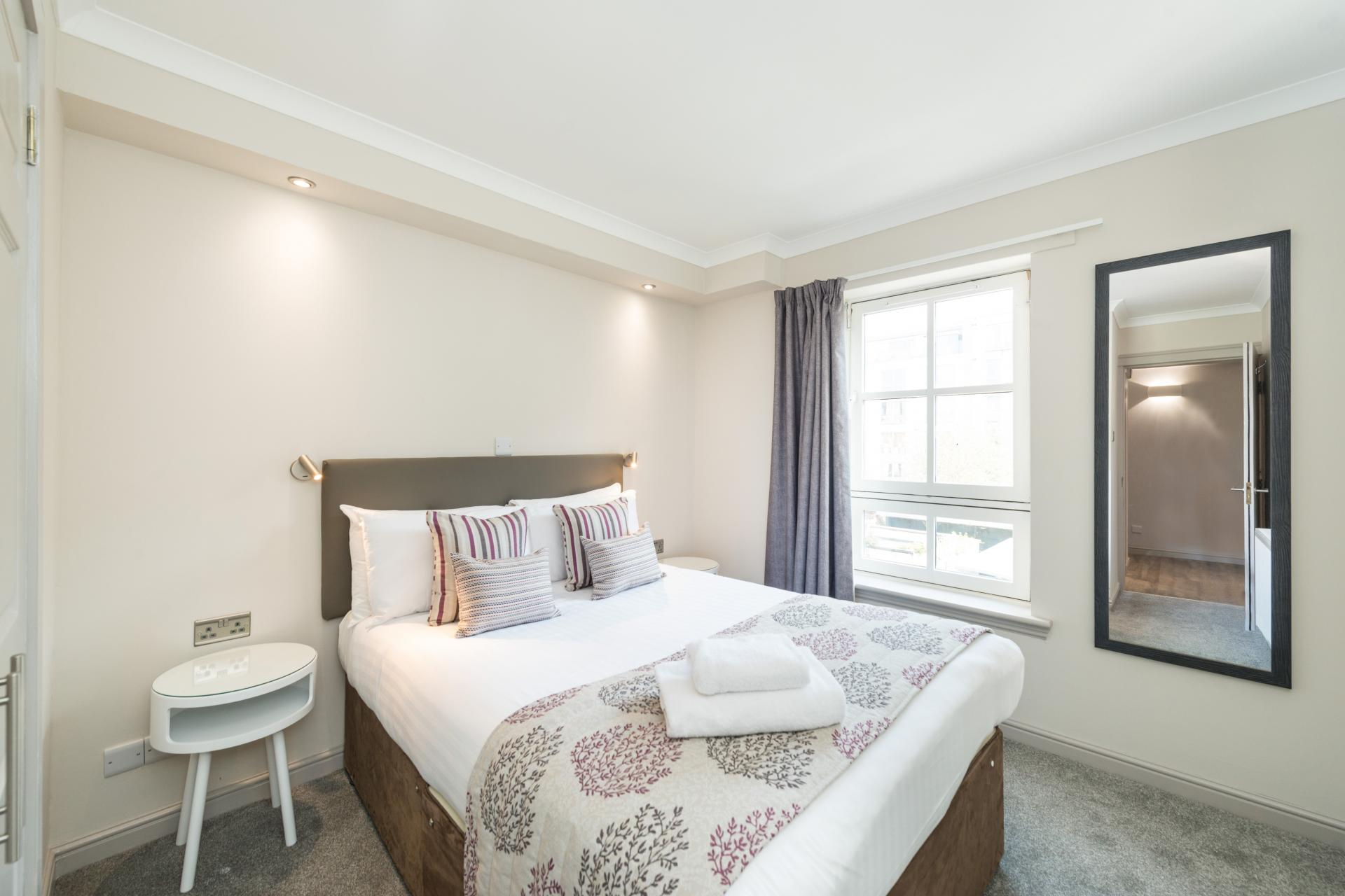 Bright bedroom in Grove Apartments