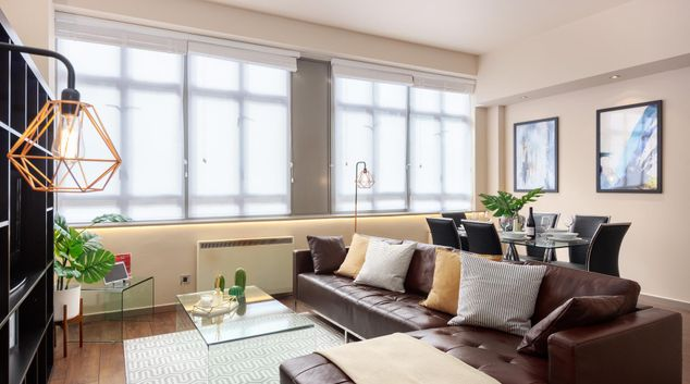 Living Area at Lawrence House Serviced Apartments, Old Street, London