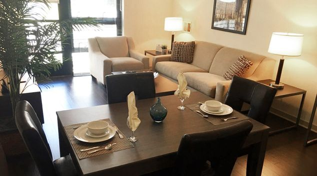 Living room at Venue Corporate Apartments