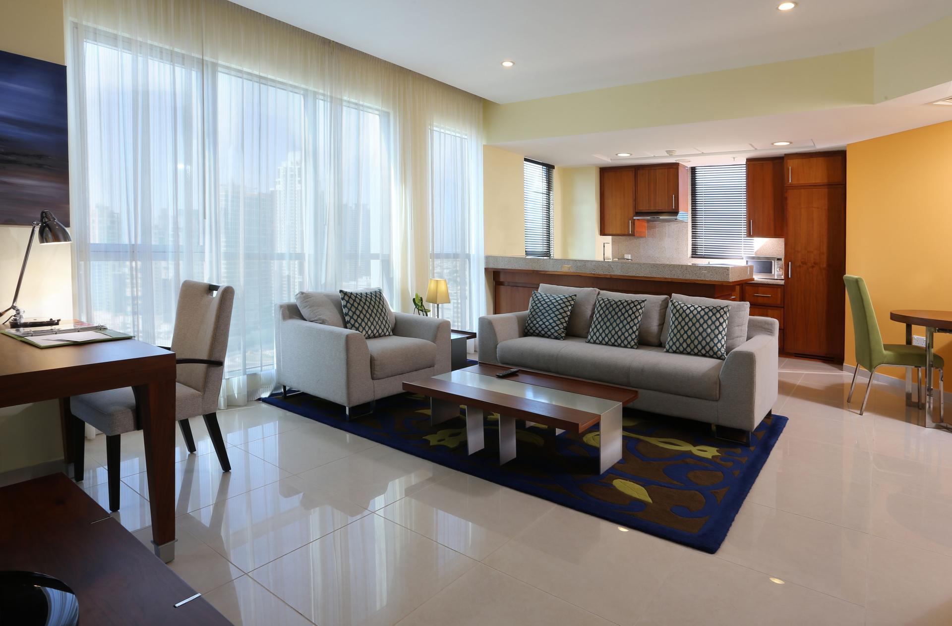 Airy lounge at Ramada Downtown Dubai Apartments