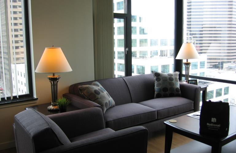 Living area at Harbour Steps Apartment, Centre, Seattle