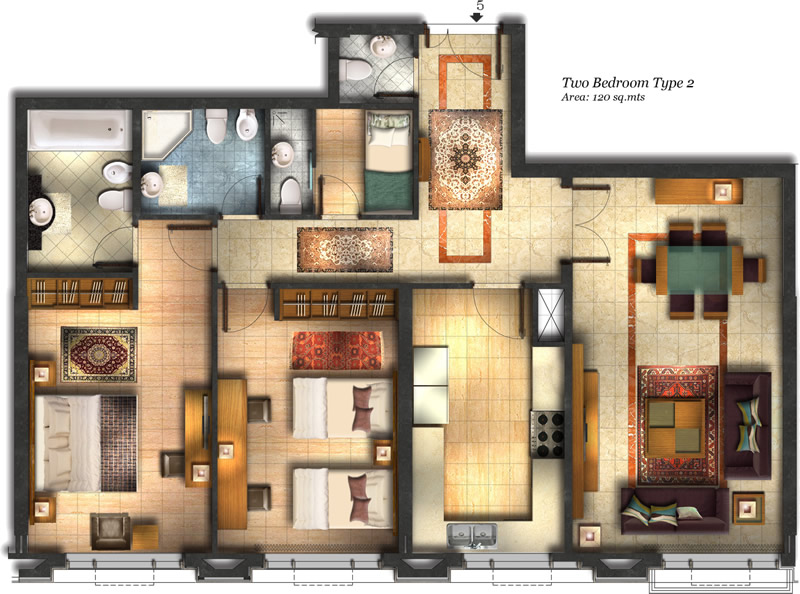 2 bed apartment type 2 at Vision Twin Towers