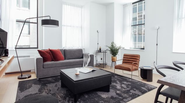 Living area at 70 Pine Street Apartments
