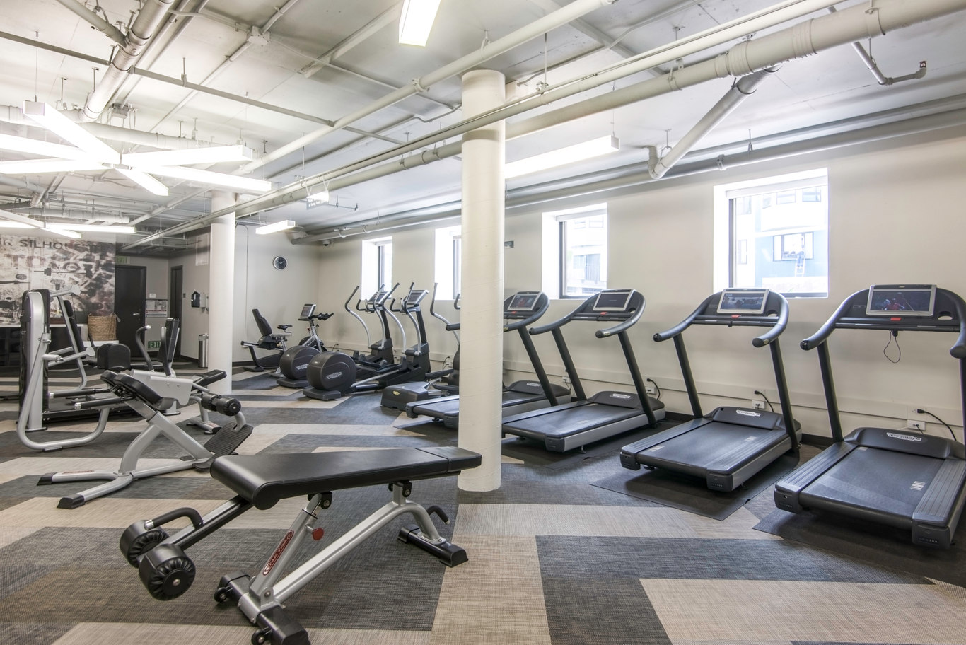 Gym at 2000 Post Street Apartments