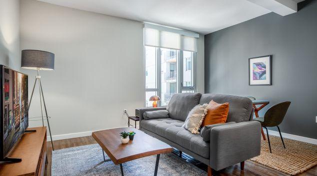 Living room at L Seven Apartments