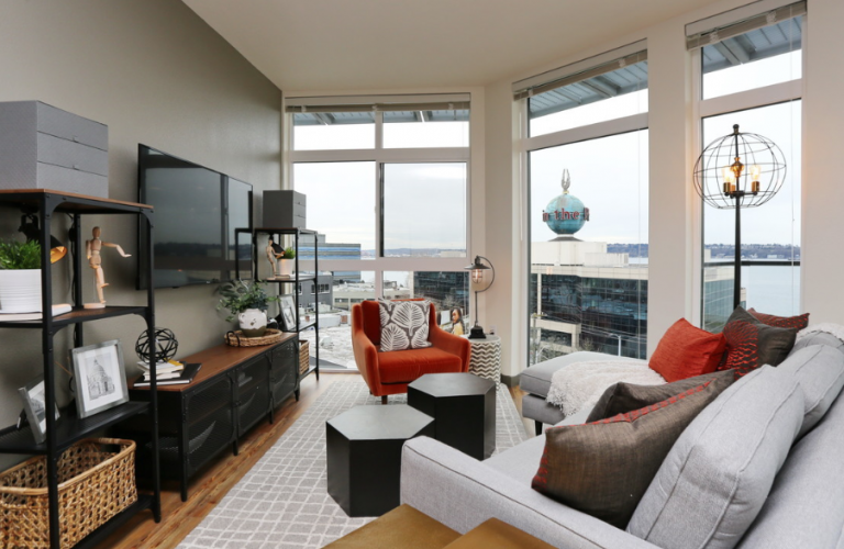 Living area at 2nd & John Apartment, Lower Queen Anne, Seattle