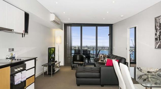 Living room at Murray Street Apartments