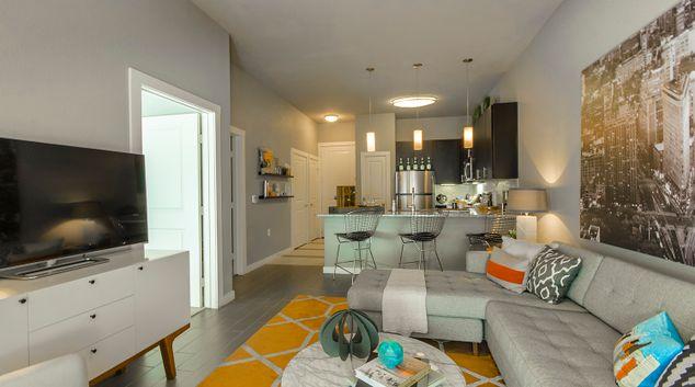 Living area at Moda Luxury Apartments