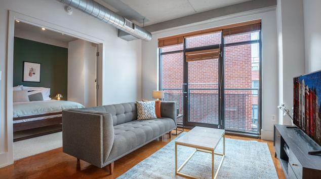 Living area of 1425 P Street Apartment, Logan Circle, Washington DC