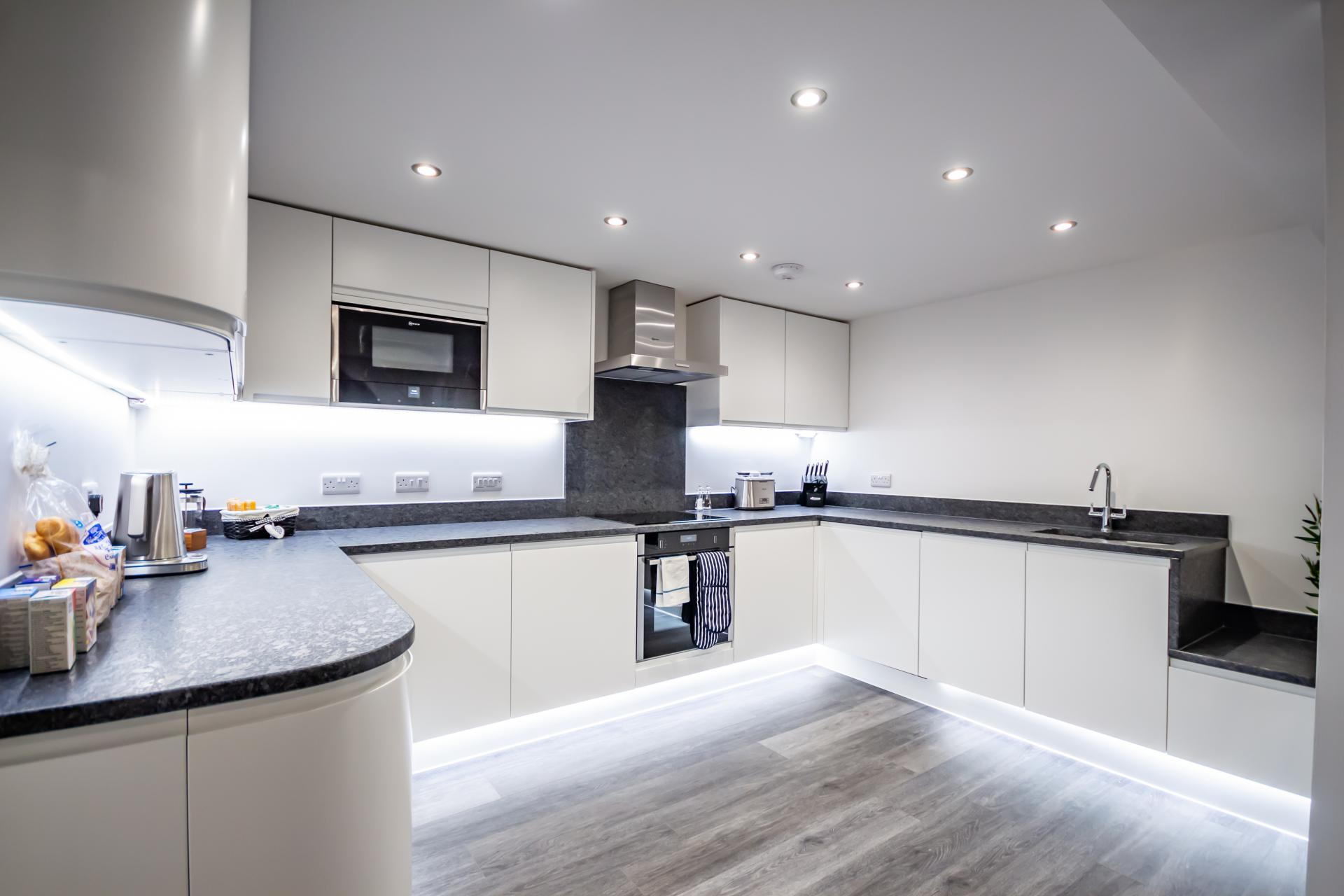 Kitchen at The Crescent Serviced Apartments