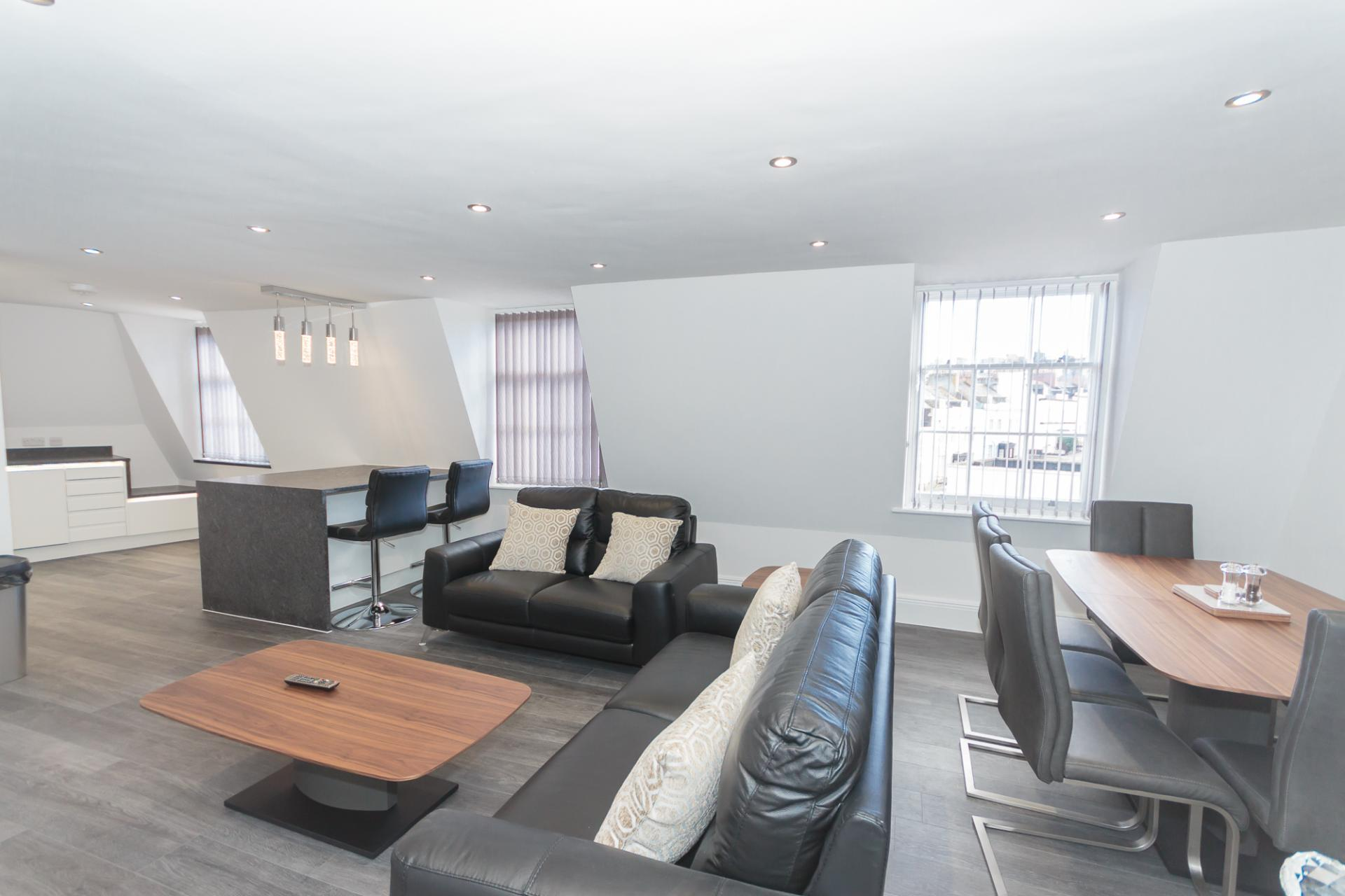 Living area at The Crescent Serviced Apartments