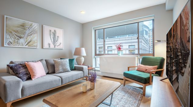 Living area at The Cameo Apartment, Manhattan, New York