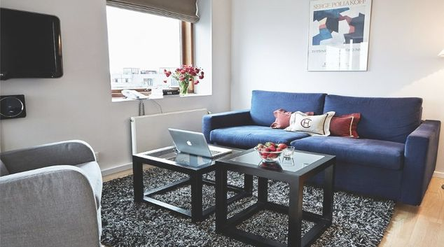 Bright living area in Charlottehaven Apartments