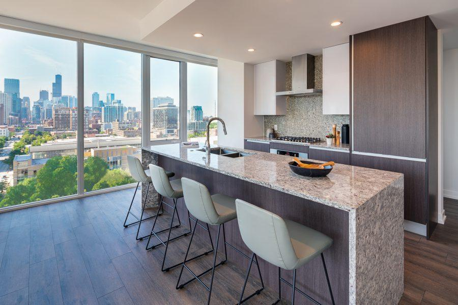 Kitchen at Level Furnished Living, Near North Side, Chicago