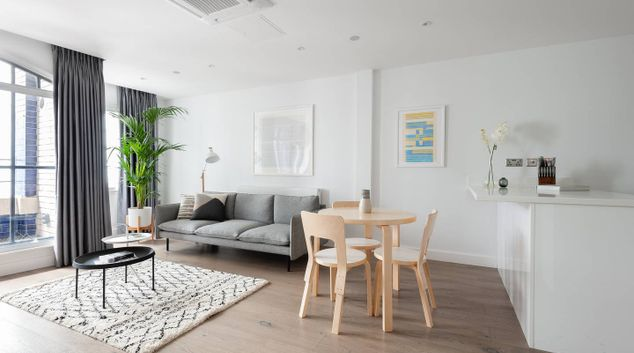 Living room at Leicester Square Apartments