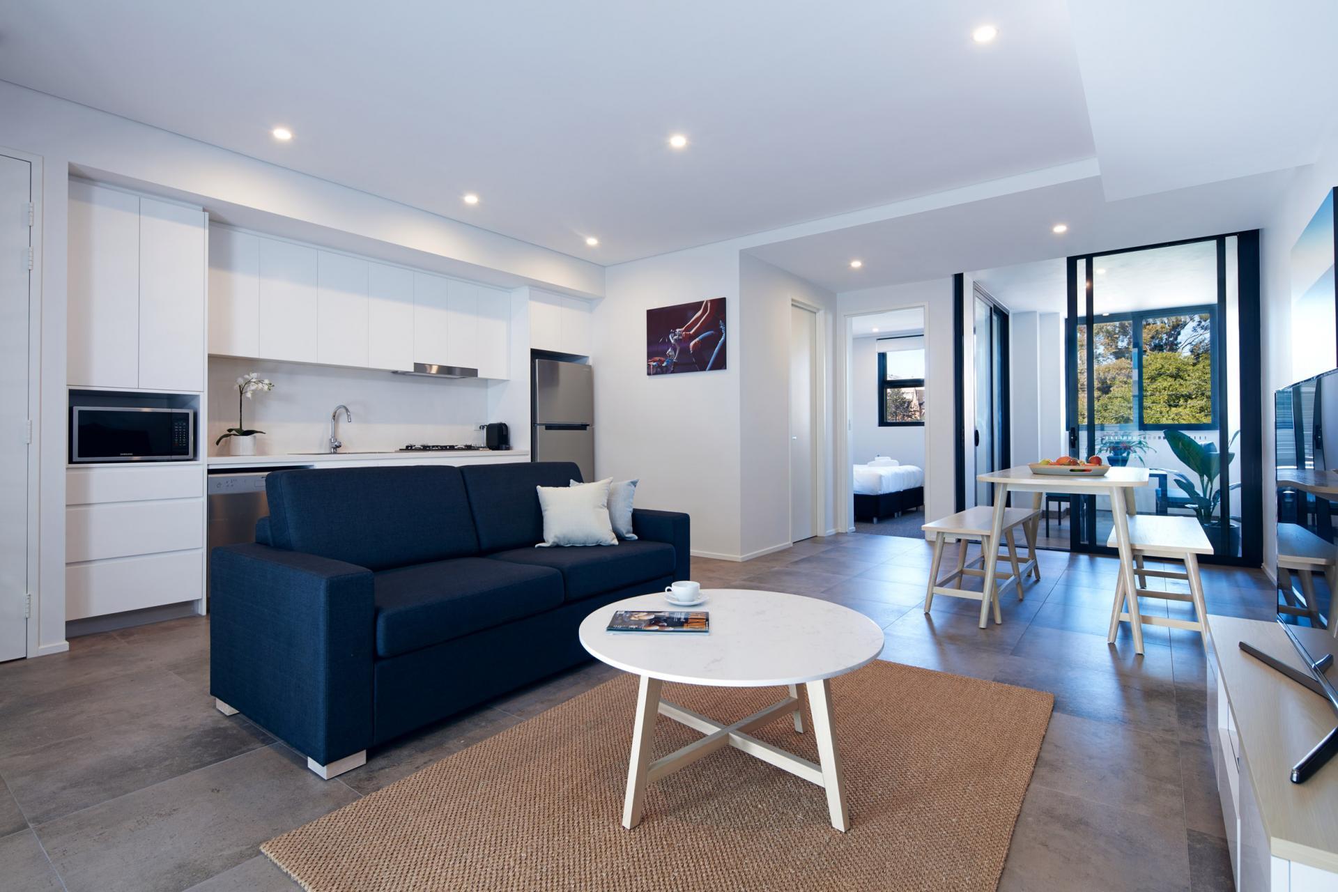 Living room at Veriu Camperdown Apartments