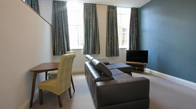 Living room at 3 Union Court Apartments