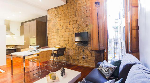Living room at Trompetes Apartment, Gothic Quarter, Barcelona