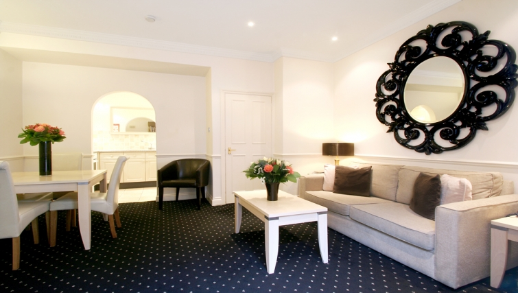 Large inviting living area at Collingham Serviced Apartments