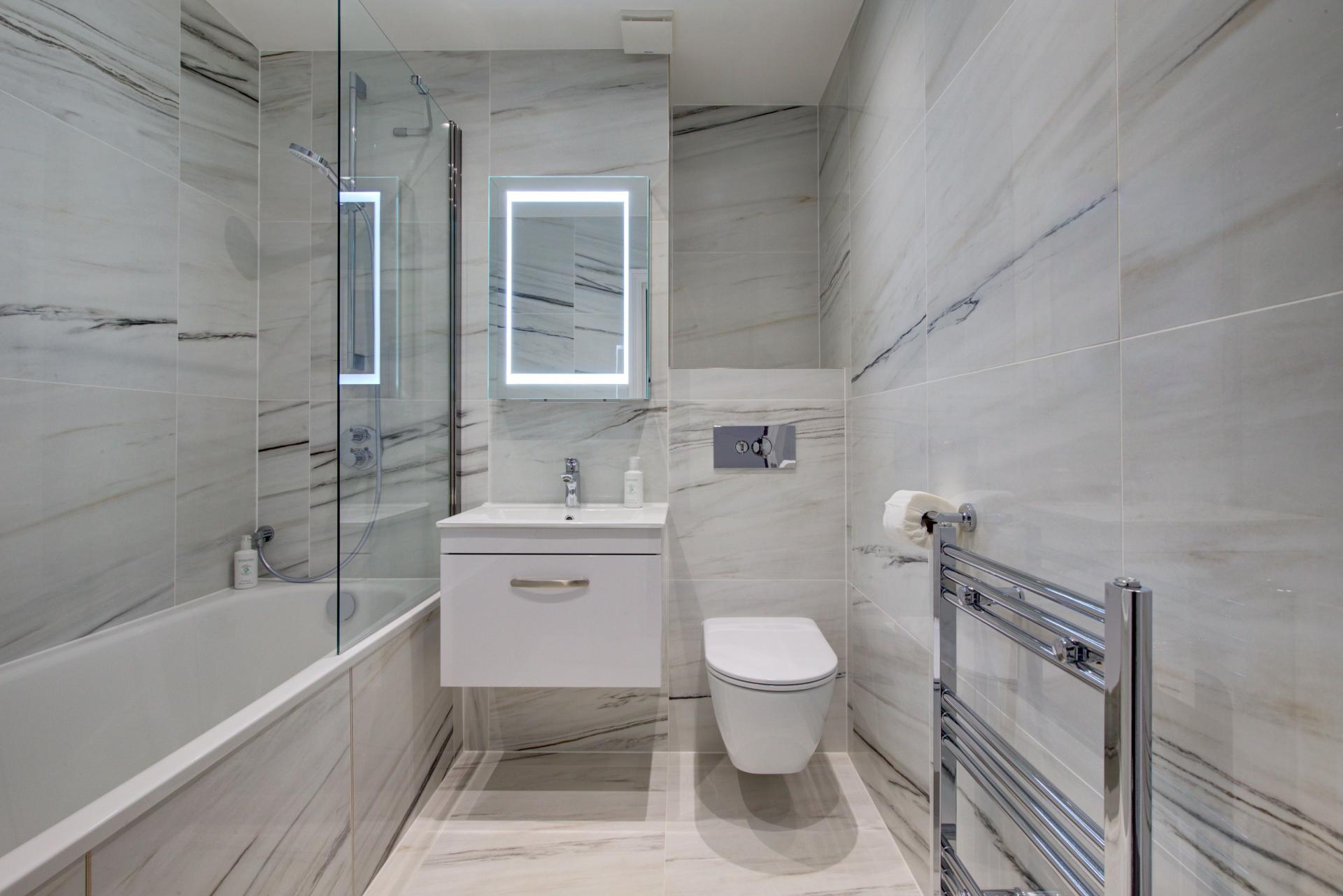 Tiled Bathroom at Collingham Serviced Apartments, Kensington, London