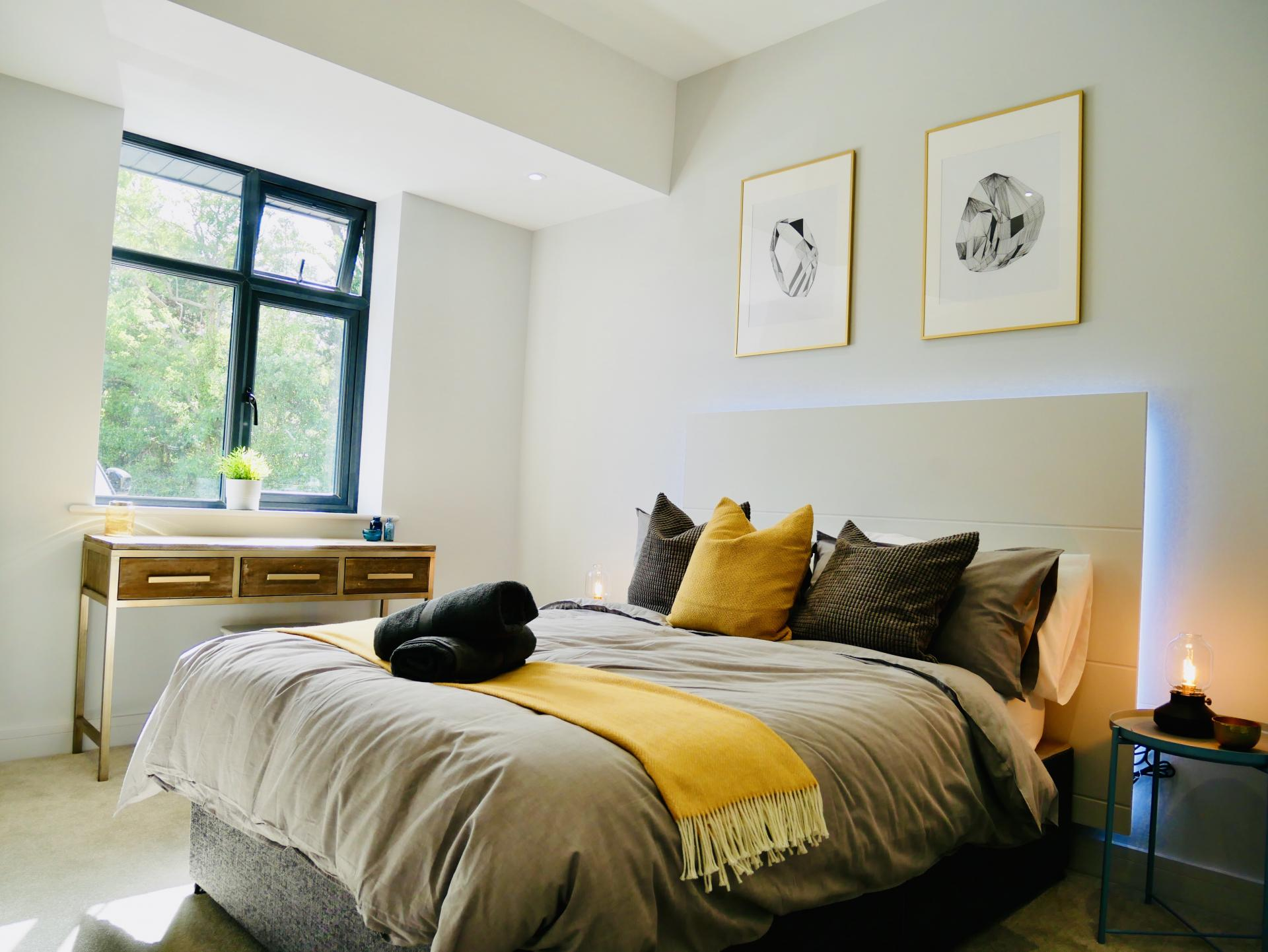 Bright bedroom at AlumPointe Apartments