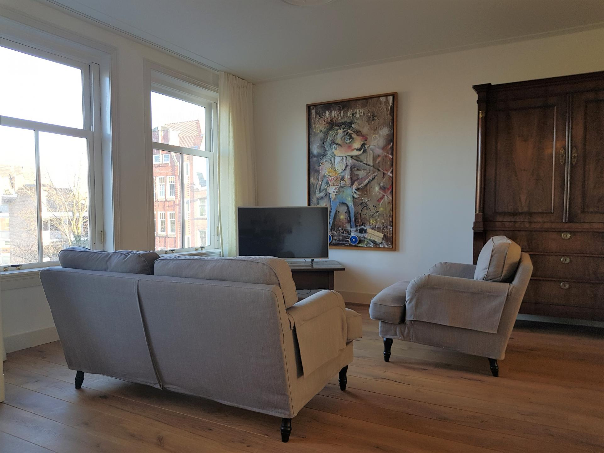 Living room at 21 Haarlemmerplein Apartments, Amsterdam