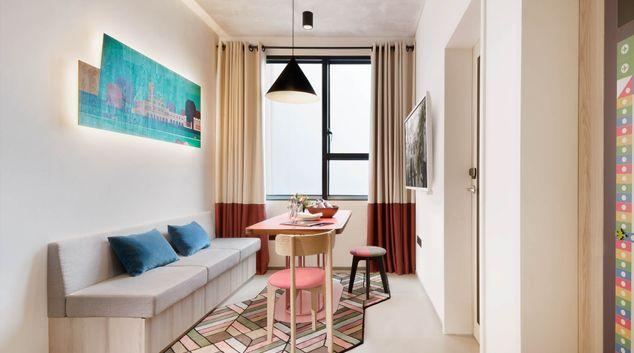 Living area at lyf Funan Apartments, Singapore
